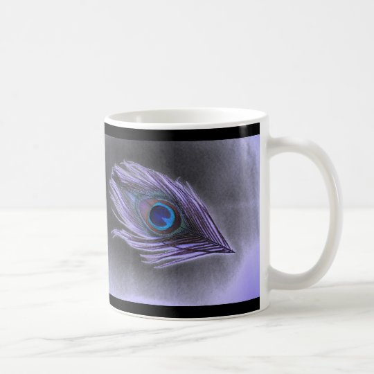 Purple Peacock Feather on Black Coffee Mug