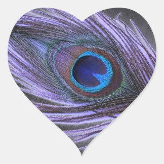 Purple Peacock Feather on Black Heart Sticker
