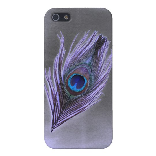 Purple Peacock Feather on Black iPhone 5 Savvy Gl iPhone SE/5/5s Cover