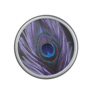 Purple Peacock Feather on Black Bluetooth Speaker