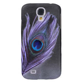 Purple Peacock Feather on Black Samsung Galaxy S4 Case