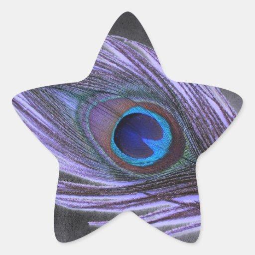 Purple Peacock Feather on Black Star Sticker