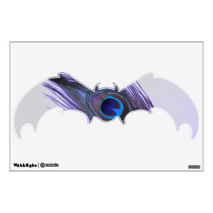 Purple Pea Feather On Gray Bat Wall Decal