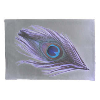 Purple Peacock Feather on Gray Pillowcase