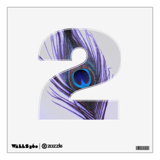 Purple Peacock Feather on Grey 2 Wall Decal