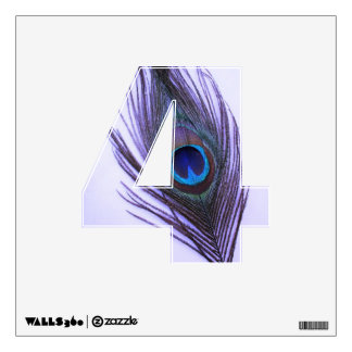 Purple Peacock Feather on Purple 4 Wall Decal