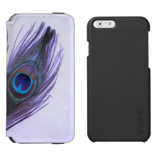 Purple Peacock Feather on Purple Add Photo iPhone 6/6s Wallet Case