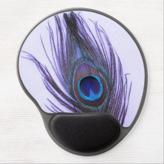 Purple Peacock Feather on Purple Gel Mousepads