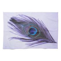Purple Peacock Feather on Purple Kitchen Towel