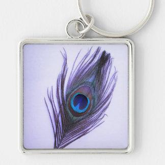 Purple Peacock Feather on Purple Large Premium Key Keychain