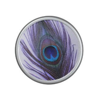 Purple Peacock Feather on Purple Bluetooth Speaker