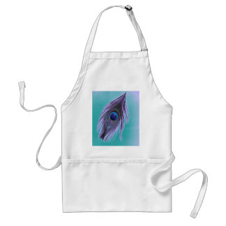 Purple Peacock Feather on Teal Adult Apron
