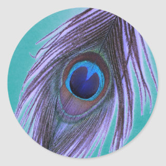 Purple Peacock Feather on Teal Classic Round Sticker