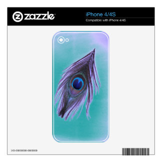 Purple Peacock Feather on Teal Decal For The iPhone 4S