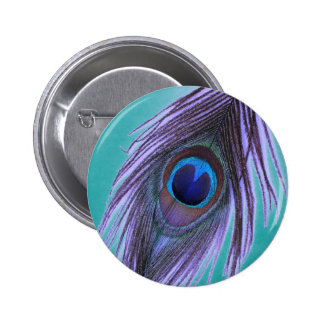 Purple Peacock Feather on Teal Pinback Button