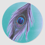 Purple Peacock Feather on Teal Round Sticker