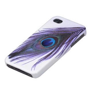 Purple Peacock Feather on White Case For iPhone 4