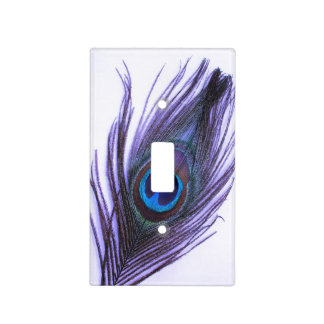 Purple Peacock Feather on White Light Switch Cover