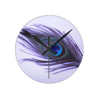Purple Peacock Feather Round Clock
