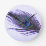 Purple Peacock Feather Round Wall Clocks