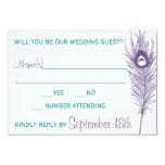 Purple Peacock Feather RSVP Custom Invites