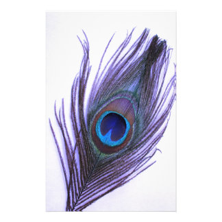 Purple Peacock Feather Stationery