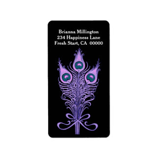 Purple Peacock Feathers 2 Label