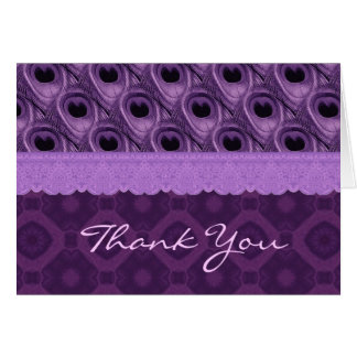 Purple Peacock Feathers and Lace Thank You  TH016 Card