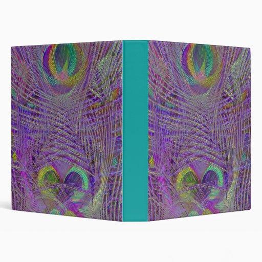 Purple Peacock Feathers Binder