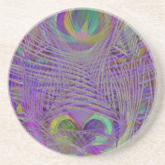 Purple Peacock Feathers Coaster