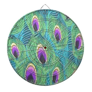 Purple Peacock Feathers Dartboard With Darts