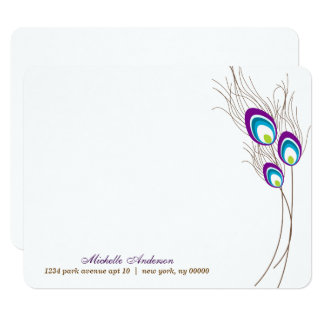 Purple Peacock Feathers Flat Note Cards