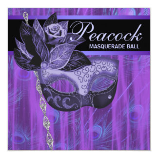 Purple Peacock Feathers Masquerade Party Invites