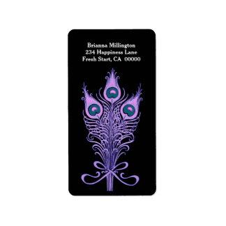 Purple Peacock Feathers Monogram Label