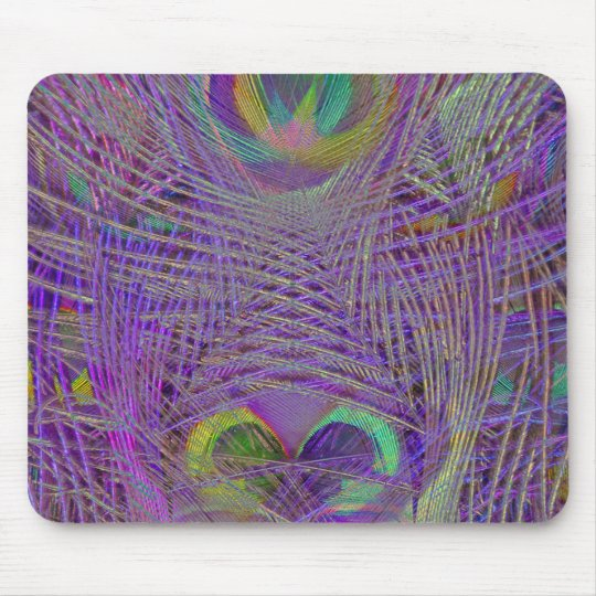 Purple Peacock Feathers Mousepad