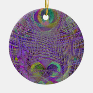 Purple Peacock Feathers Ornaments