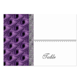 Purple Peacock Feathers Place Card - Wedding Party Large Business Card