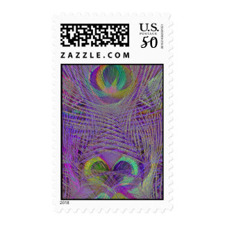 Purple Peacock Feathers Postage Stamps