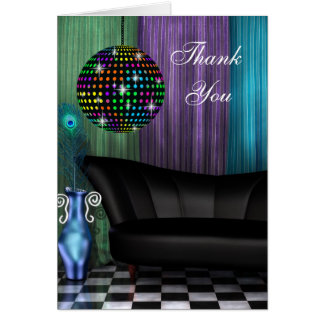 Purple Peacock Mirror Ball Thank You Cards