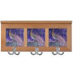 purple peacock sketch invert coat rack
