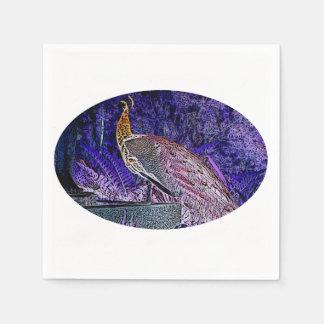 purple peacock sketch invert paper napkins