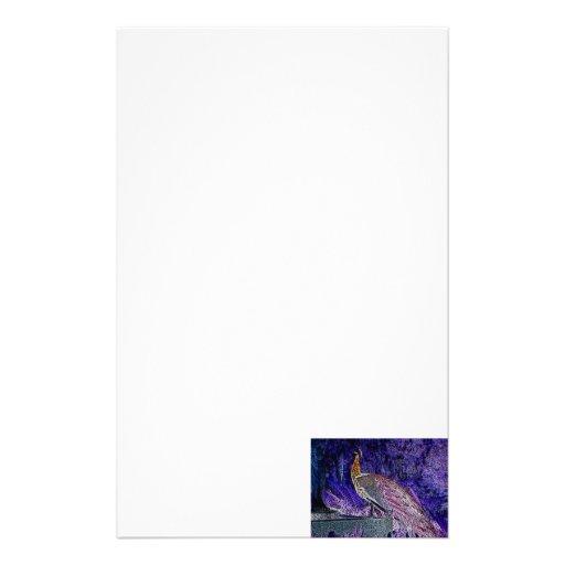 purple peacock sketch invert stationery paper