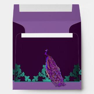 Purple Peacock & Teal Damask Wedding Envelopes