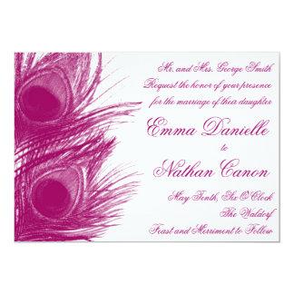 "Purple Peacock Wedding Invitation 5"" X 7"" Invitation Card"