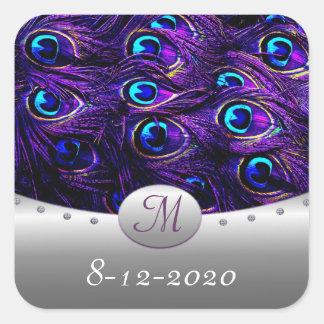 Purple Peacock Wedding Invitation Envelope Seals Square Sticker