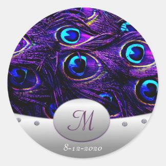 Purple Peacock Wedding Invitation Envelope Seals Classic Round Sticker