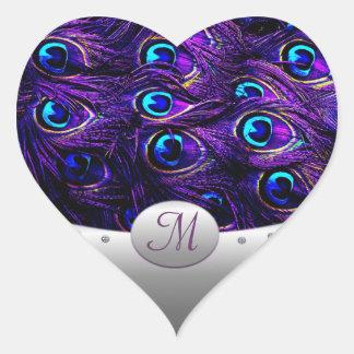 Purple Peacock Wedding Invitation Envelope Seals Heart Sticker