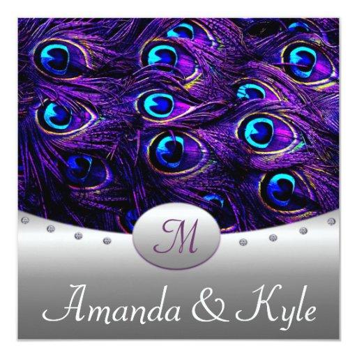 Purple Peacock Wedding Invitations