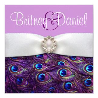 """Purple Peacock Wedding Invitations 5.25"""" Square Invitation Card"""
