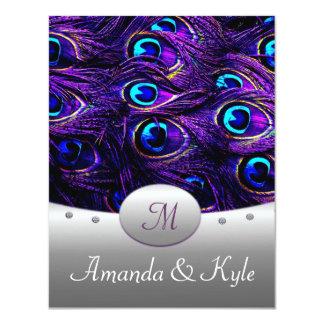 "Purple Peacock Wedding Invitations 4.25"" x 5.5"" 4.25"" X 5.5"" Invitation Card"